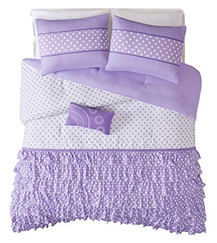 Mizone Girls 4-Piece Comforter Set - Purple. Twin Girls Comforter Sets. Twin Comforter Set For Teens. Gorgeous Purple Girls Bedding Sets. Your Girl Will Adore This Ruffled Bedding Set for Her Room. Includes Twin. (Twin/TXL)