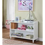 King's Brand R1015 Wood 2-Tier Bookcase, White Finish