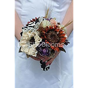Animal Print Artificial Anemone, Sunflower and Magnolia Bridesmaid Bouquet with Handmade Flowers 15