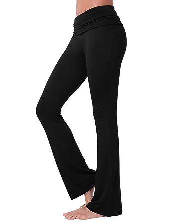 69c26e580c BaiShengGT Yoga Pants Plus Size, Women's Color Block Fold Over Waist Yoga  Pants Flare Leg