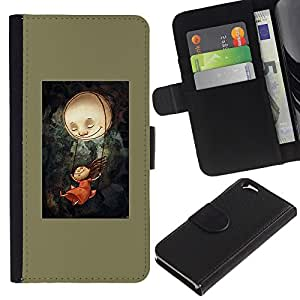 All Phone Most Case / Oferta Especial Cáscara Funda de cuero Monedero Cubierta de proteccion Caso / Wallet Case for Apple Iphone 6 // Dark Olive Painting Creepy