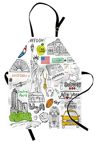 Lunarable American Apron, New York City Culture Metropolitan Museum Broadway Crossroad Wall Street Sketch Style, Unisex Kitchen Bib Apron with Adjustable Neck for Cooking Baking Gardening, White