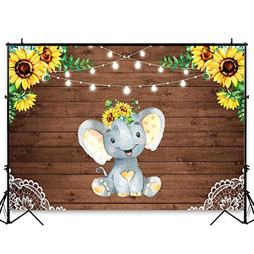 Sunflower Baby Shower - Funnytree 7x5ft Sunflower Elephant Party Backdrop