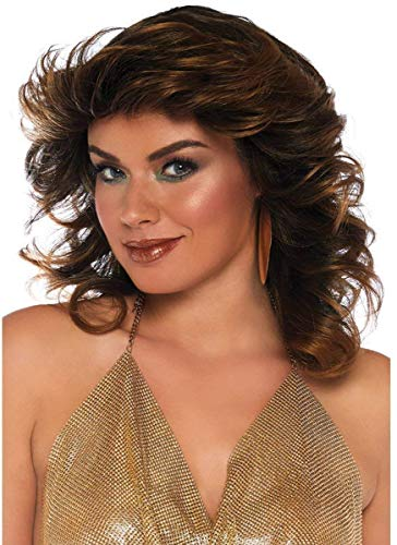 Leg Avenue Women's Fashion Synthetic Costume Cosplay Farrah Feathered Wig, Brown One Size