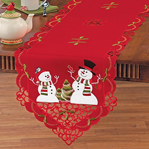 Embroidered Winterland Snowman Linens RUNNER