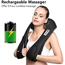 Naipo Shiatsu Back and Neck Massager Deep Kneading Massage with Cordless Rechargeable Battery and Heat for Shoulder, Foot, Back Pain, Full Body Massage