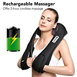 Father's Day Gifts Back Neck and Shoulder Massager Shiatsu with Heat and Deep 3D Tissue Kneading Cordless and Rechargeable for Anytime Anywhere USE