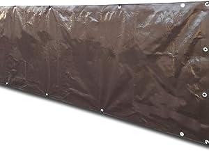 Alion Home Custom Sizes Heavy Duty Waterproof Wind Block Privacy Screen Tarp for Backyard Deck, Patio, Balcony, Fence, Porch, Window, Pergola - 100% Blockage (5' x 10', Brown)