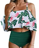 Tempt Me Women Two Piece Off Shoulder Ruffled Flounce Crop Bikini Top with Print Cut Out Bottoms Green Flower L