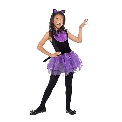 NET TOYS Dulce Vestido de Gato para niña | Negro-Morado en Talla M ...