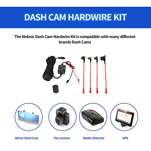 MEKNIC Dash Cam Hardwire Kit, 11.5FT Mimi USB Hardwire Kit for Dashcam12V-30V to 5V 2A Mini USB Dash Cam Hardwire Kit with Battery Protection,4 Fuse Tap Cables (Second Generation)