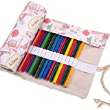 Colored Pencils Wrap, TopRay Large Capacity Coloured Pencils Roll Up Canvas Pencil Bag Pouch Holder For Artist, Colouring Pencil Gel Pen Storage Case-No Pencils Included, 72 Holes