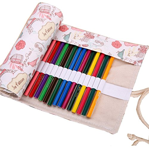 Colored Pencils Wrap, TopRay Large Capacity Coloured Pencils Roll Up Canvas Pencil Bag Pouch Holder For Artist, Colouring Pencil Gel Pen Storage Case-No Pencils Included, 72 Holes (Love in Paris)