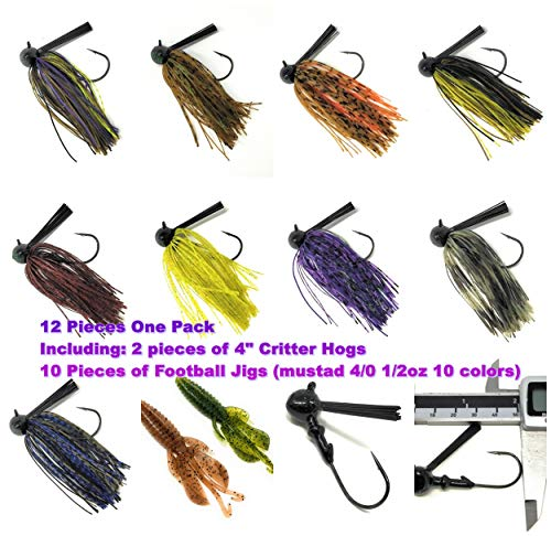 Wtrees Best Bass Jigs Set Kit Bulk with Trailers Football Jigs Kit #20 [4/0,1/2oz,10 Pack]