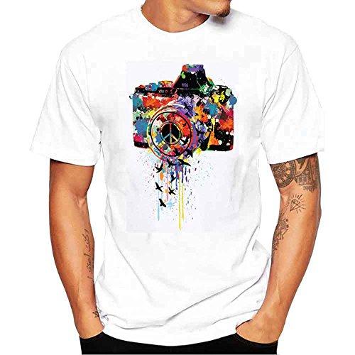 YAYUMI Men Printing Tees Summer Modal Fashion Shirt Short Sleeve Causal O-Neck T-Shirt White ()
