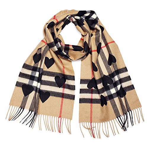 Burberry Classic Cashmere Scarf - Check and Hearts by BURBERRY