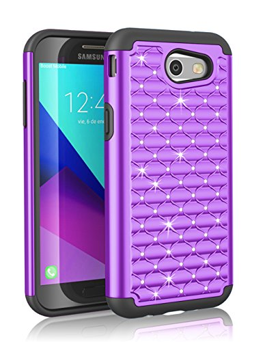 J3 Emerge Case, Galaxy J3 2017 Case, Pacific Asiana [Radiant Series] Studded Crystal Shining Rhinestone Shock Absorbing Dual Layer Hybrid Rubber Defender Plastic Rugged Slim Hard Case Cover (Pacific Hybrid)
