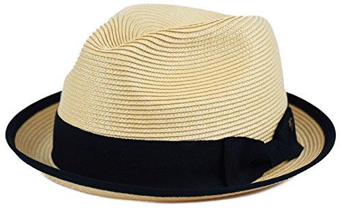 Mens Summer Fedora Hat Poly Braid Bound Edge Crushable Porkpie Hat (Natural, L/XL)