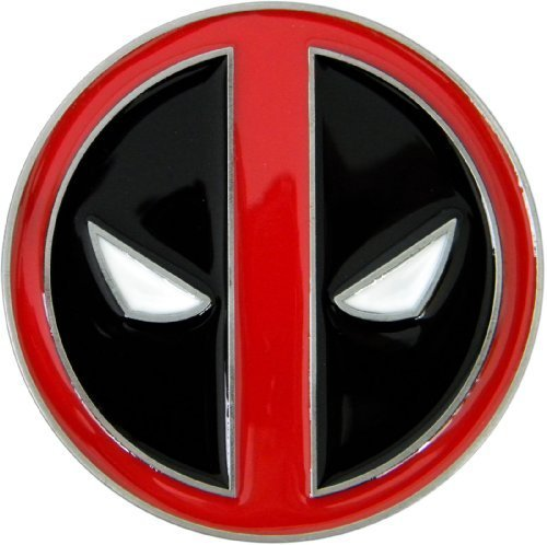 Deadpool Belt Buckle, Die Cast Chrome Finish Enamel (Spencers Gifts Halloween Costumes)