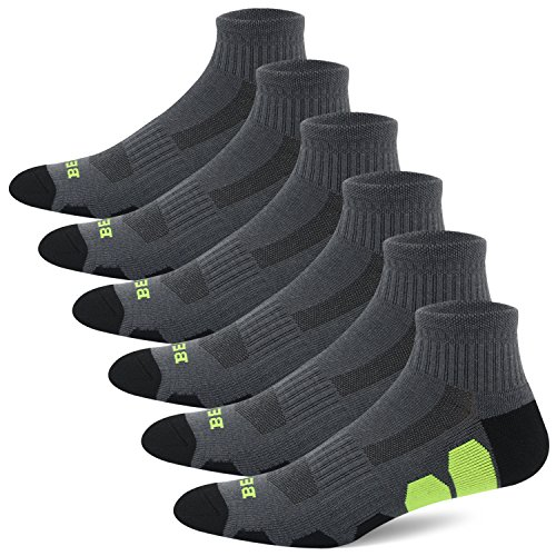 BERING Men's Performance Athletic Ankle Running Socks (6 Pack) Athletic 1/4 Length Socks