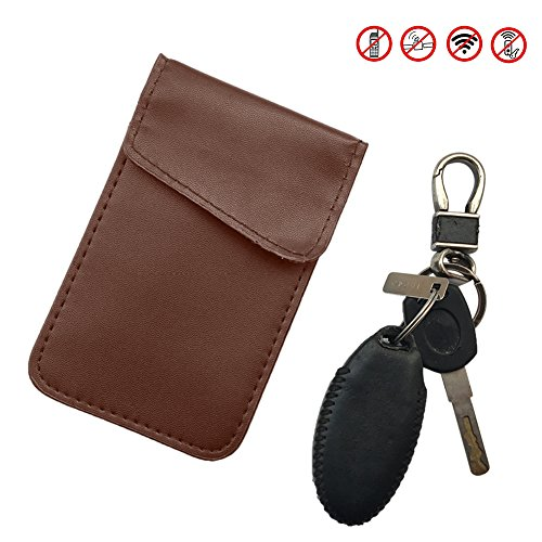 Luerme RFID Signal Blocking Bag Shielding Pouch Wallet Case for Cell Phone Privacy Protection and Car Key Fob Protector Anti-MagneticAnti-TheftAnti-RadiationShieldingDoubleLayerKeyBag (Brown)