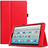 """Fintie Folio Case for All-New Amazon Fire HD 10 Tablet (7th Generation, 2017 Release) - Premium PU Leather Slim Fit Smart Stand Cover with Auto Wake/Sleep for Fire HD 10.1"""" Tablet, Red"""