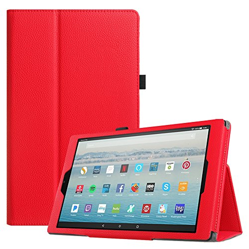 r All-New Amazon Fire HD 10 Tablet (7th Generation, 2017 Release) - Premium PU Leather Slim Fit Smart Stand Cover with Auto Wake/Sleep for Fire HD 10.1