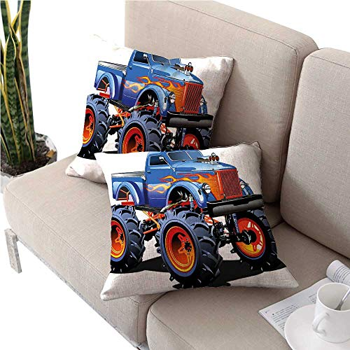 (warmfamily Man Cave DecorSquare Euro Sham Cushion CoverCartoon Monster Truck Huge Tyres Off-Road Heavy Large Tractor Wheels Turbocute Cushion Covers 20