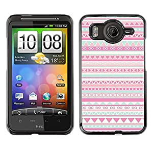 FlareStar Colour Printing Pattern Native American Folk Pink cáscara Funda Case Caso de plástico para HTC Desire HD / inspire 4G / G10
