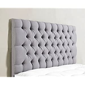 mm08enn Colchester 26″ Tall Buttoned Headboard in Chenille Fabric 2FT6,3FT,4FT,4FT6,5FT,6FT (4ft6 Double, Light Grey)