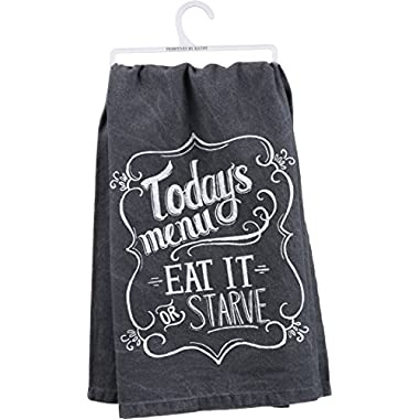 Primitives By Kathy Today's Menu Dish Towel, Black, 28  Square