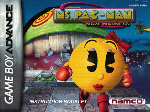 Ms Pac-Man Maze Madness GBA Instruction Booklet (Game Boy Advance Manual Only - NO GAME) (Nintendo Game Boy Advance Manual)