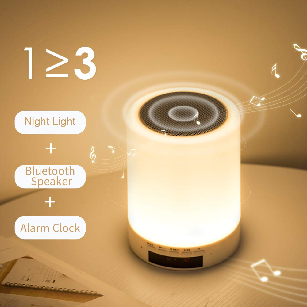 Night Light Bluetooth Speaker, Portable Wireless Speaker with Bluetooth, Touch Control, Color LED Speaker, Bedside Table Lamp, Speakerphone/TF Card/AUX-in Supported by Mubarek