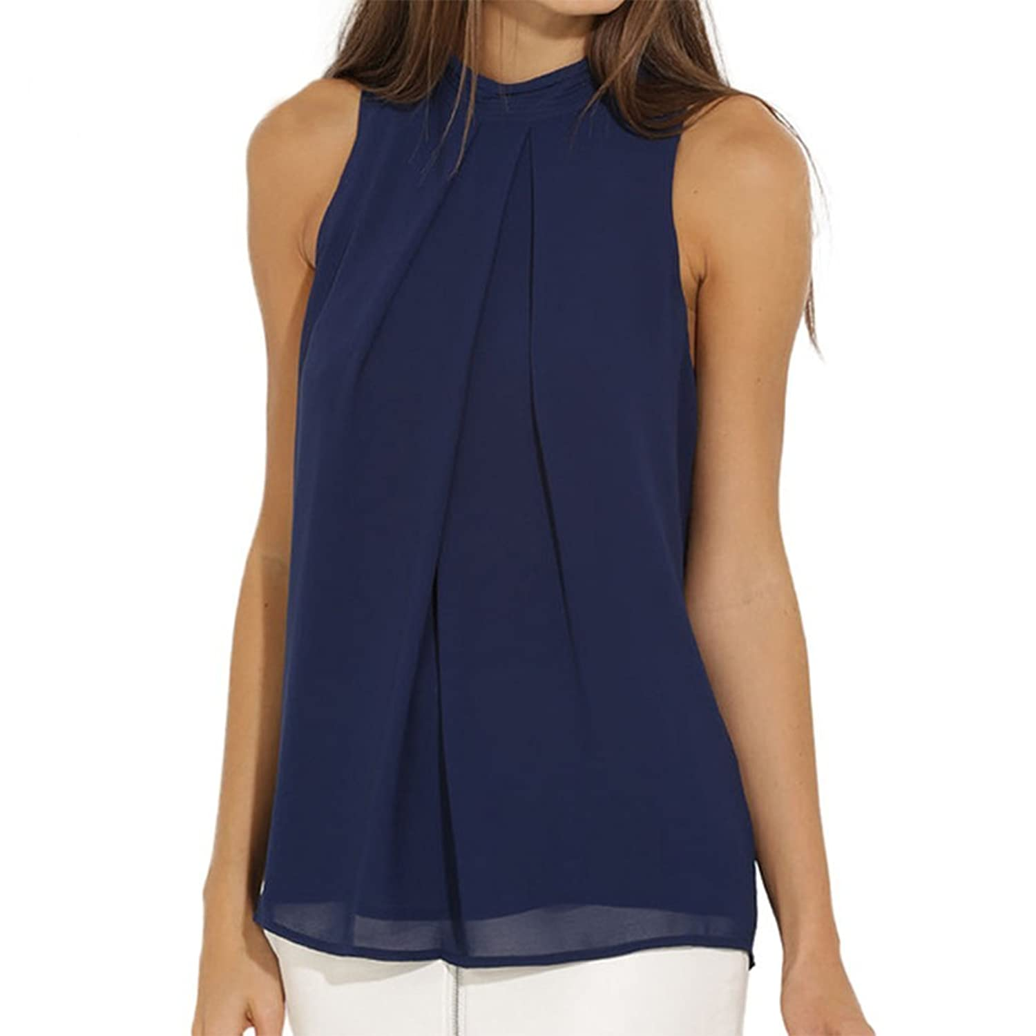 EFINNY Women Summer Chiffon Sleeveless Blouse Tank Shirt Dark Blue