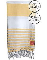 Club Kokomo Turkish Beach Towel - Eco Friendly Quick Dry Towel - XL 100% Organic Cotton Peshtemal Towel - 95x175cm - Sand Free Beach Blanket, Sustainable Zero Microfiber Oversized Beach Towel