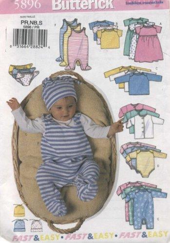 (BUTTERICK PATTERN 5896 INFANTS JACKET , DRESS, TOP, ROMPER, DIAPER COVER & HAT SIZE PR, NB, S )