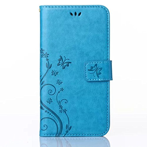 Pendant Holder Finish (HAOTP(TM) Beauty Luxury Butterfly Fashion Floral PU Flip Stand Credit Card ID Holders Wallet Leather Case Cover for Samsung Galaxy S7(Blue))