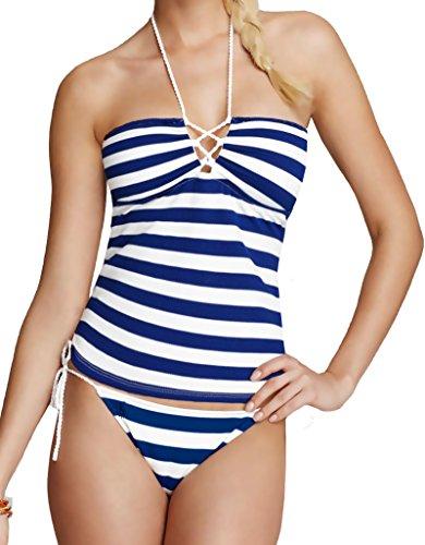 Ralph Lauren Blue Label 2 Piece Tankini Set - Capri Stripe Bandeau Laced Top & Side Tie Bikini Bottom Navy Blue, L (L Top + L Bottom) (Ralph Lauren Junior)