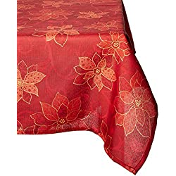 Benson Mills Poinsettia Scroll Printed Fabric Tablecloth, 60-Inch-By-104 Inch
