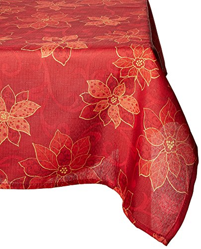 Benson Mills Poinsettia Scroll Printed Fabric Tablecloth, 60-Inch-By-104 - Tablecloth Christmas