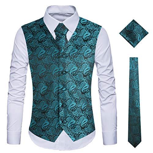 WULFUL Men's 3pc Paisley Vest Necktie Pocket Square Set for Suit or Tuxedo (Aquamarine, S(Chest 41)