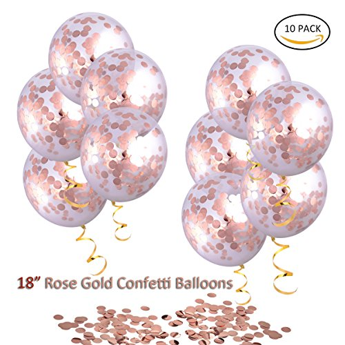 HoveBeaty Rose Gold Confetti Balloons, Round 18'' Party Balloons Latex Transparent Rose Golden Balloons for Wedding, Proposal, Birthday Party Decorations (10 Pack)