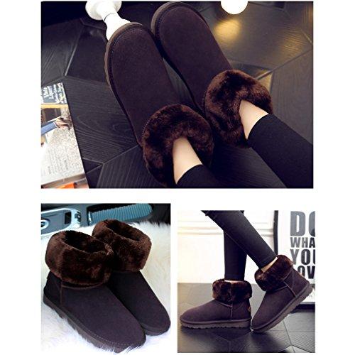 da Pelliccia Stivali Neve Donna Scarpe Donne Stivali Marrone Leather Scuro Boots Invernali Impermeabile Fexkean Calde pR5zZqwn5