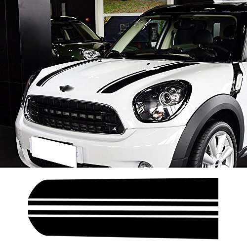 Charminghorse Hood Decal Bonnet Racing Stripes Engine Cover Vinyl Stickers for BMW Mini Cooper Countryman R60 2010-2016 (Gloss Black)