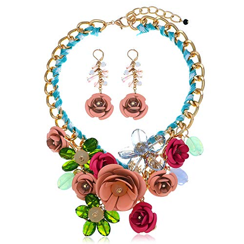 (HoBST Floral Flower Statement Necklace and Earring Set Choker Chunky Gold Plated Chain Pendant Jewelry (Green Pink) )