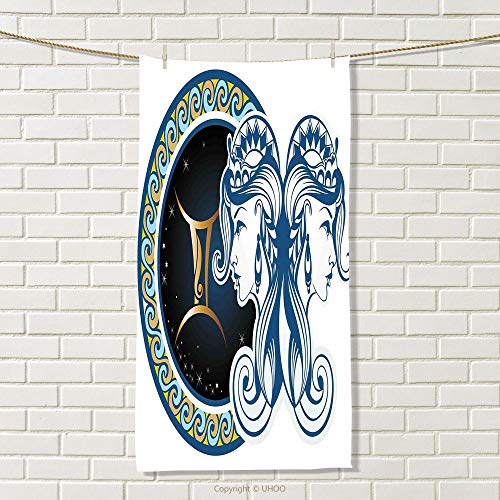 smallbeefly Zodiac Travel Towel Gemini Icon Motif with Back to Back Women Future Celestial Information Cosmos Theme Quick-Dry Towels Blue Gold Size: W 27.5
