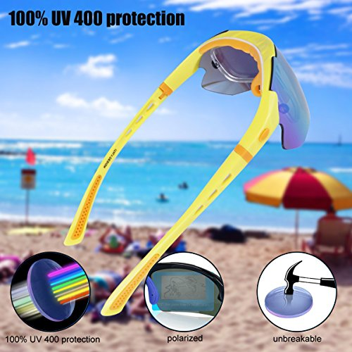 Polarized Sports Sunglasses Cycling Baseball Running Fishing Driving Golf Hiking Biking Outdoor Glasses with 5 Interchangeable Lenses Motorcycle Bicycle Riding Goggles for Men Women (yellow & orange) by LOVE'S (Image #6)