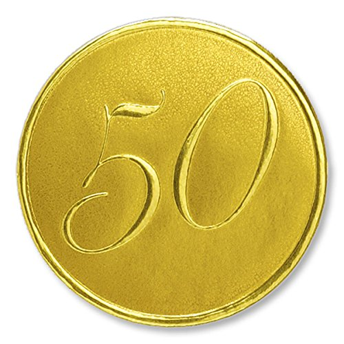 Deluxe Embossed 50th Anniversary Gold Foil Seals, 1 3/8 Inches, Self Adhesive, 32 (Deluxe Foil Seals)
