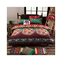 haleysmall Bohemian Bedding Set 3/4Pcs Bed Linens Set King Queen Size Duvet Cover Boho Style Girl Bedding Decoration,Pattern 2,Sold 1 Pillow Case