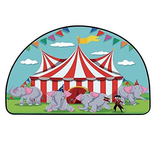 - MOOCOM Circus Decor Semi Circle Mat,Elephant Show at The Circus Illustration Flags Performance Fun Park Joy Carpet Indoor Mat,29.5